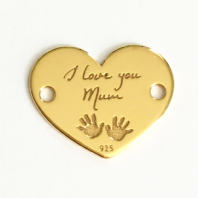 Sterling Silver I Love You Mum Heart Charm 24K Gold Plated